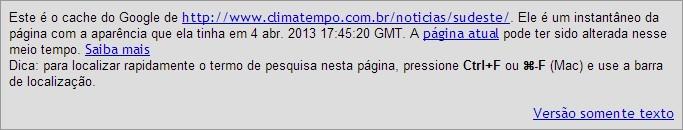 cache google climatempo em 5/5/2013