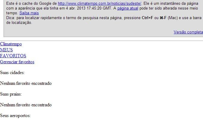 cache google (versão somente de texto)