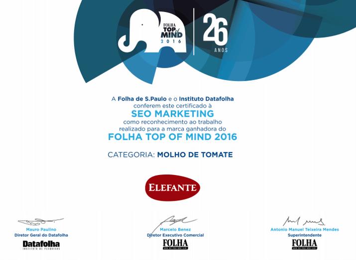 Prêmio Top Of Mind 2016 da Folha de São Paulo, categoria Molho de Tomate