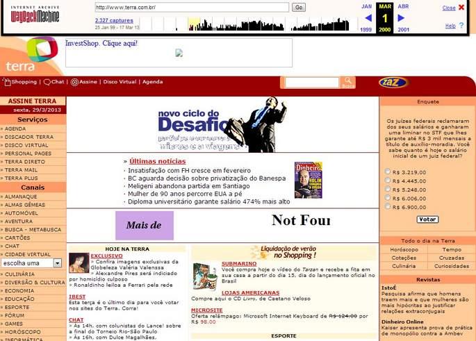 Como era o site do Terra em 2000