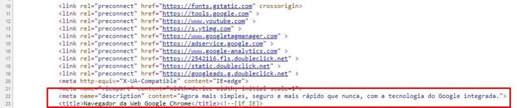 visualizar meta tags no google